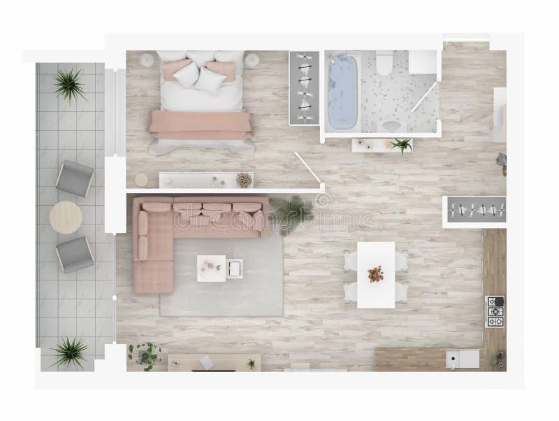 Plattegrond van een huis hoogste mening Open concept het leven flatlay-out vector illustratie