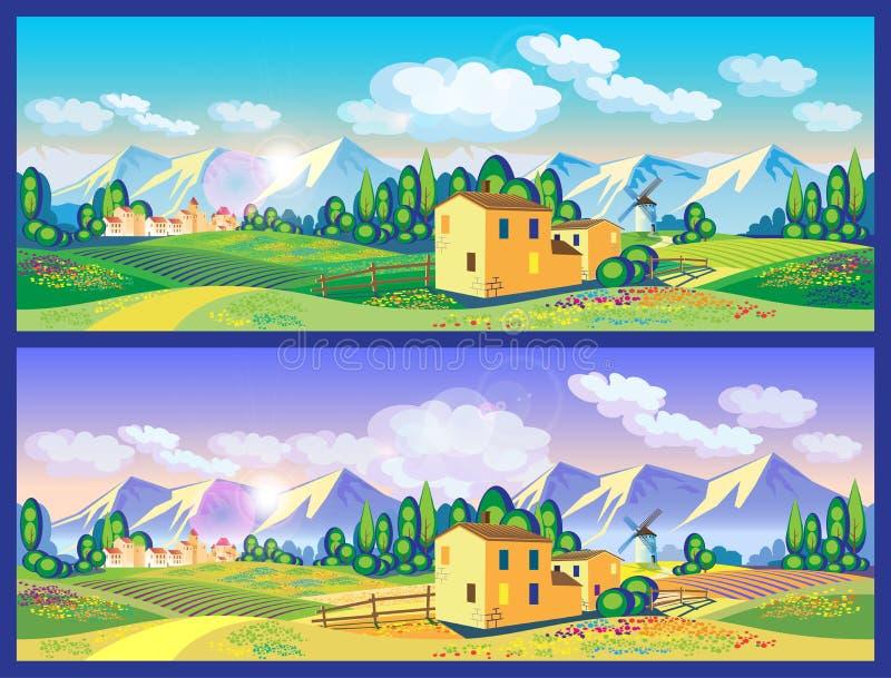 Platteland in de lente en de zomer stock illustratie