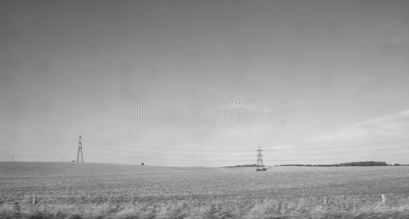 Platteland dichtbij Cambridge in zwart-wit royalty-vrije stock fotografie