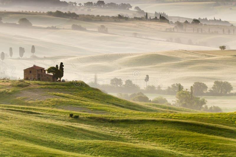 Platteland dichtbij Pienza, Toscanië, Italië stock fotografie