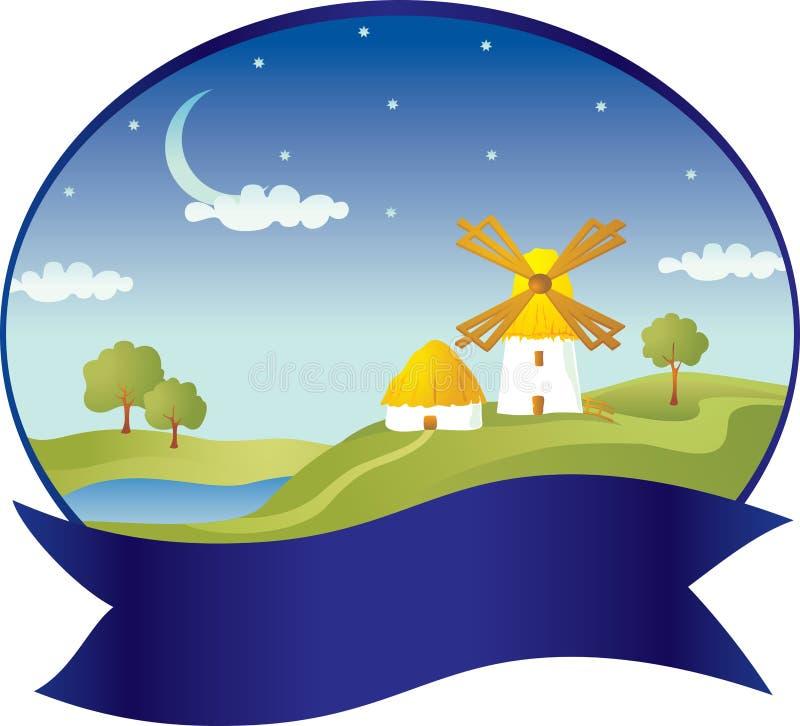 Platteland met windmolen stock illustratie