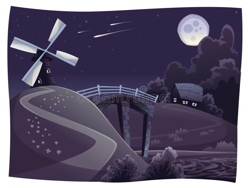 Platteland met windmolen in de nacht stock illustratie