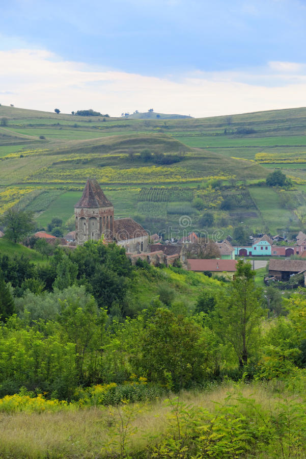 Platteland rond Buzd Versterkte Kerk, Roemenië stock afbeeldingen