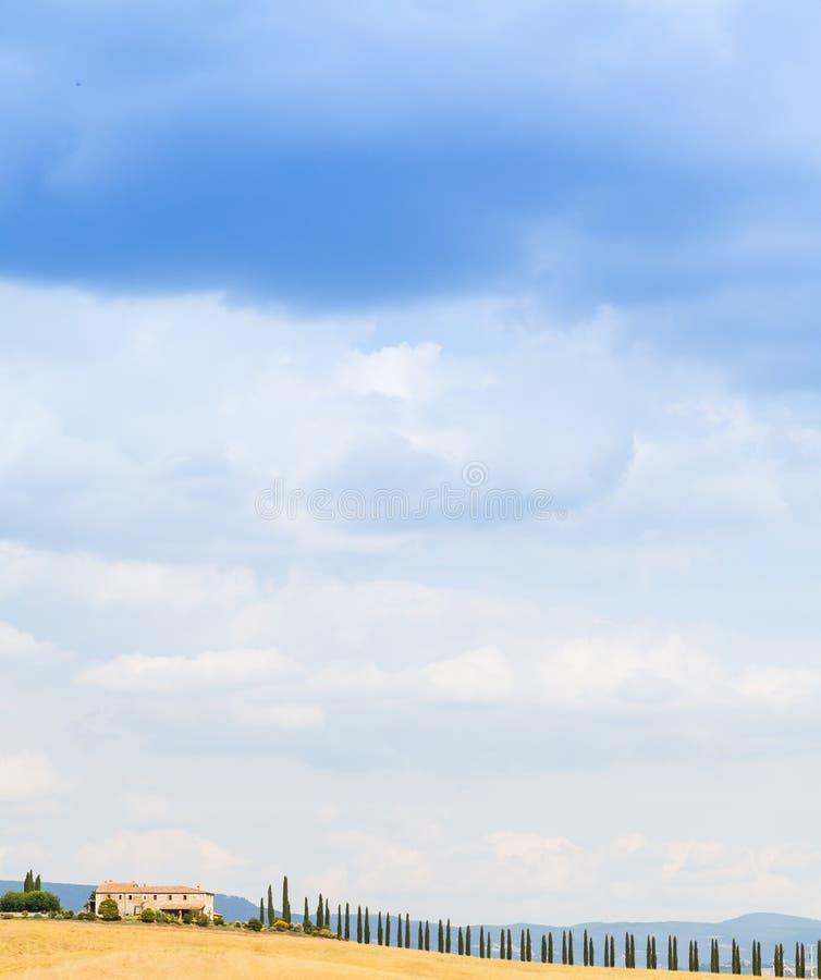 Platteland in Toscanië stock foto's