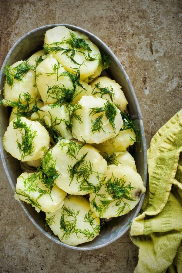 Plattelander gekookte aardappel en dille stock fotografie
