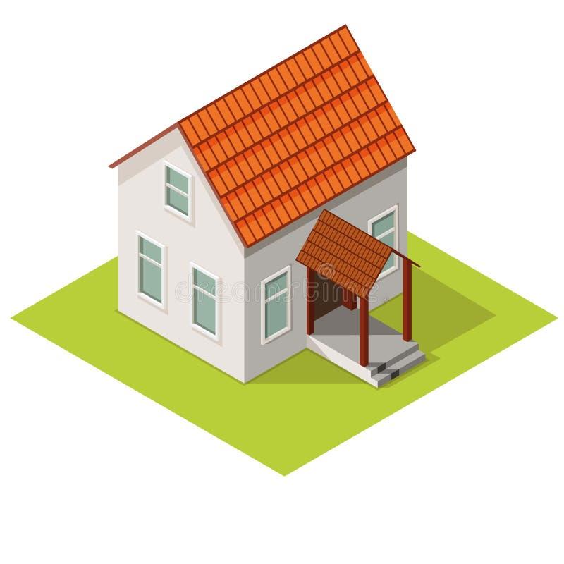Plattelandshuisje isometrische mening, landgoed in de voorsteden stock illustratie