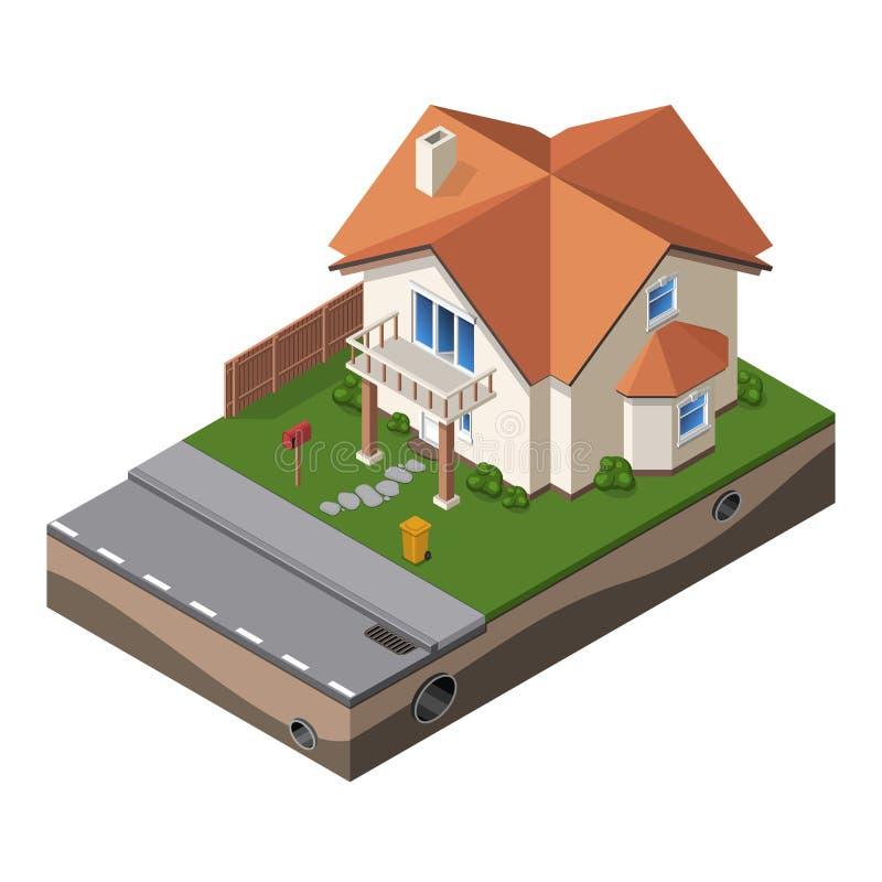 Plattelandshuisje, Klein Blokhuis voor Real Estate-Brochures of Webpictogram Met Werf, Omheining, Grond Isometrische Vectoreps10 stock illustratie