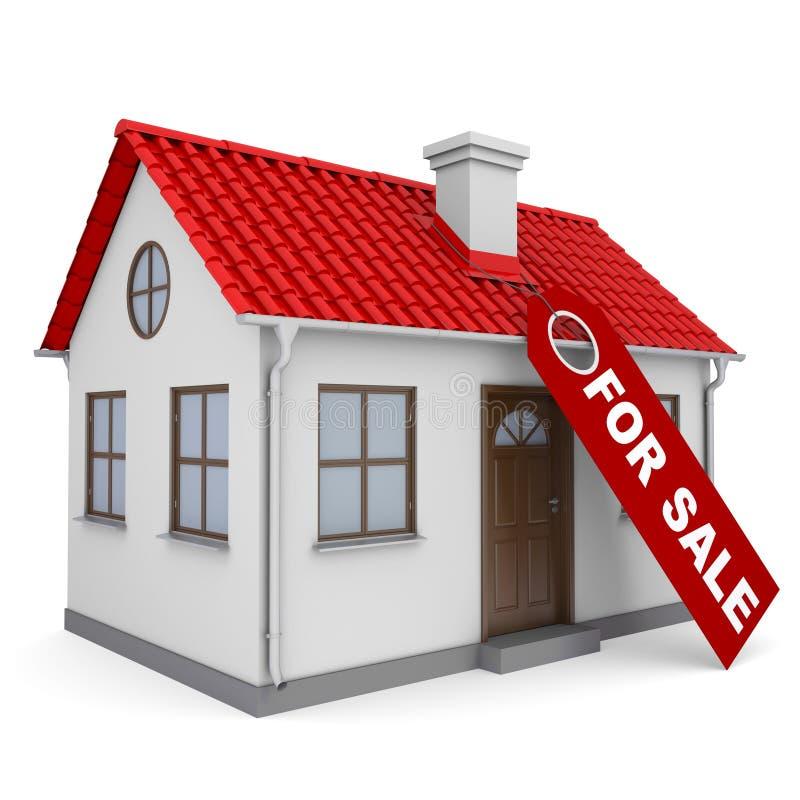 Plattelandshuisje met een etiket voor de verkoop royalty-vrije illustratie