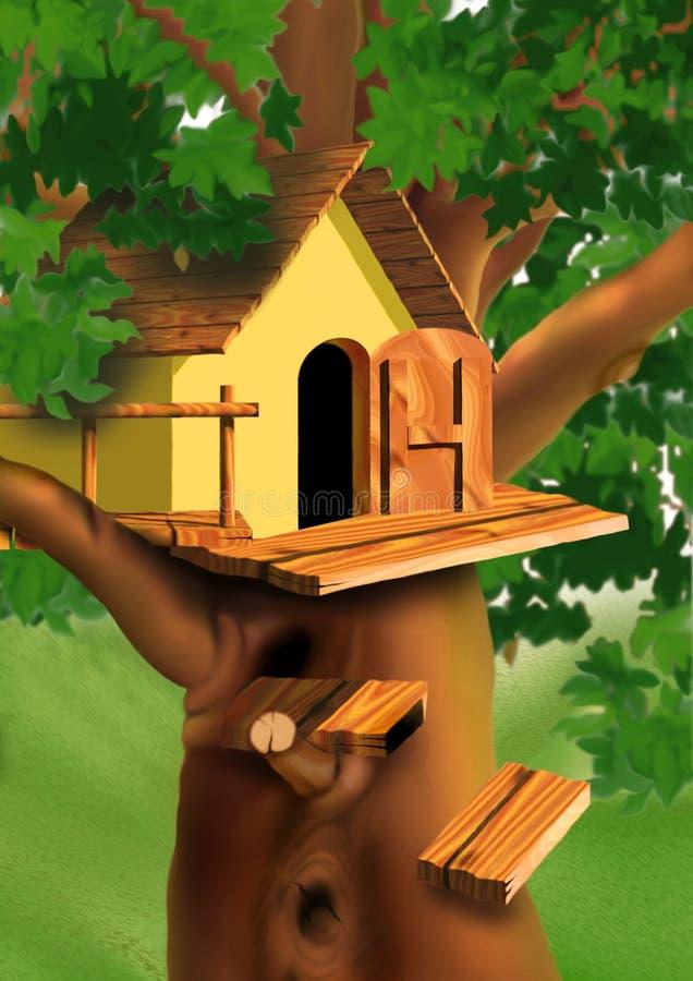 Plattelandshuisje op de boombovenkant royalty-vrije illustratie