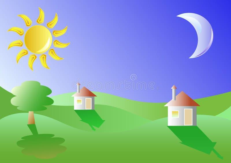 Plattelandshuisjes in een landschap vector illustratie