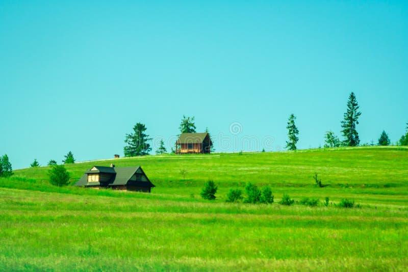 Plattelandshuisjes op een groene open plek in de bergen stock afbeelding