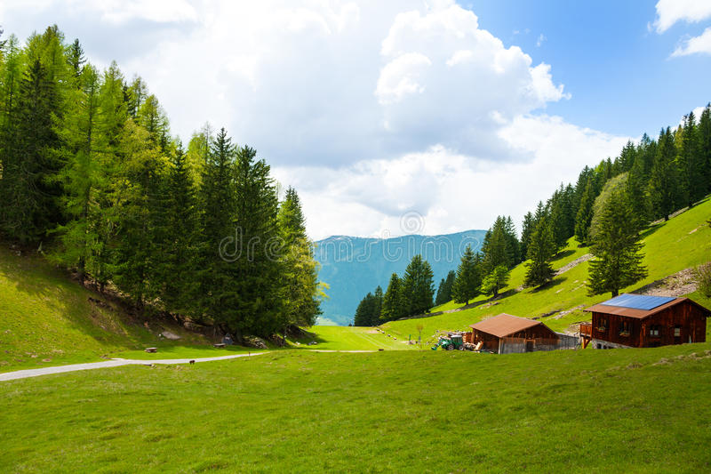 Plattelandslandschap dichtbij Mont Blanc, Alpen stock foto