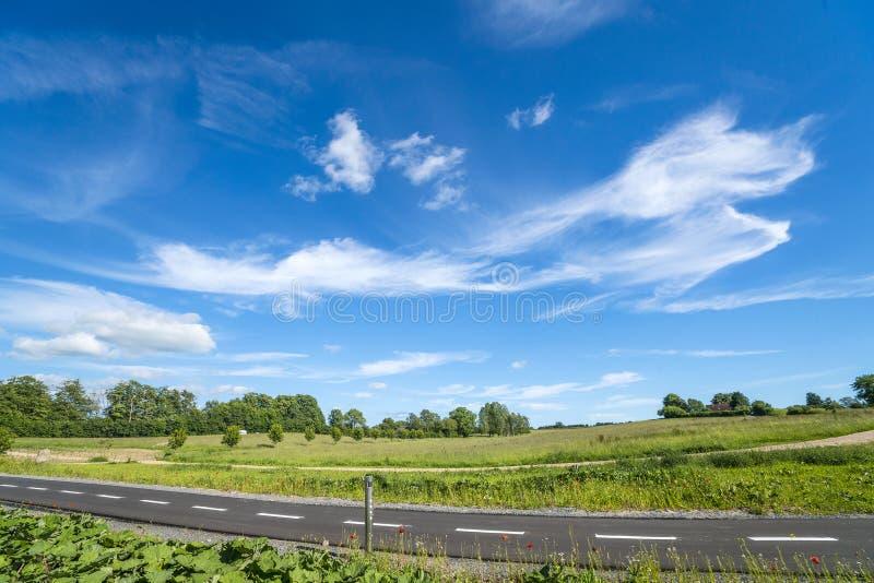 Plattelandslandschap met een fietspad stock afbeeldingen