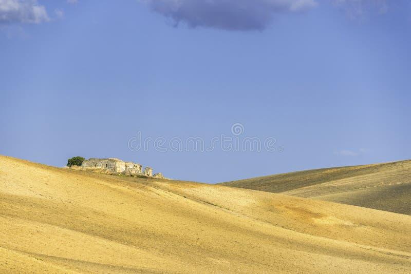 Plattelandslandschap in Val D ` Agri, Basilicata stock foto's