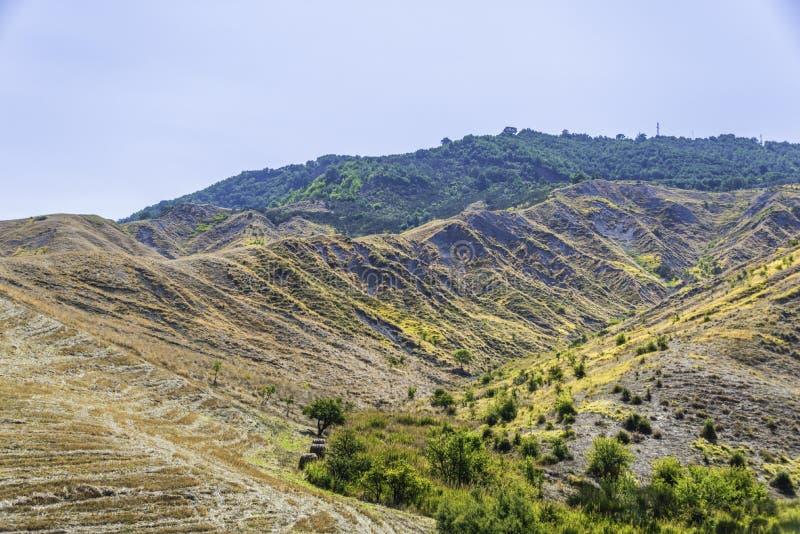Plattelandslandschap in Val D ` Agri, Basilicata royalty-vrije stock afbeelding