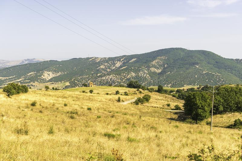 Plattelandslandschap in Val D ` Agri, Basilicata royalty-vrije stock fotografie