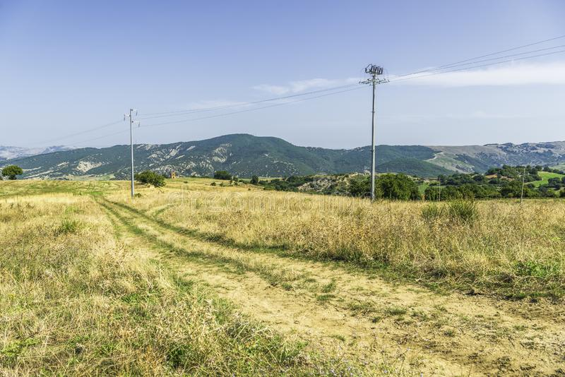 Plattelandslandschap in Val D ` Agri, Basilicata royalty-vrije stock afbeeldingen
