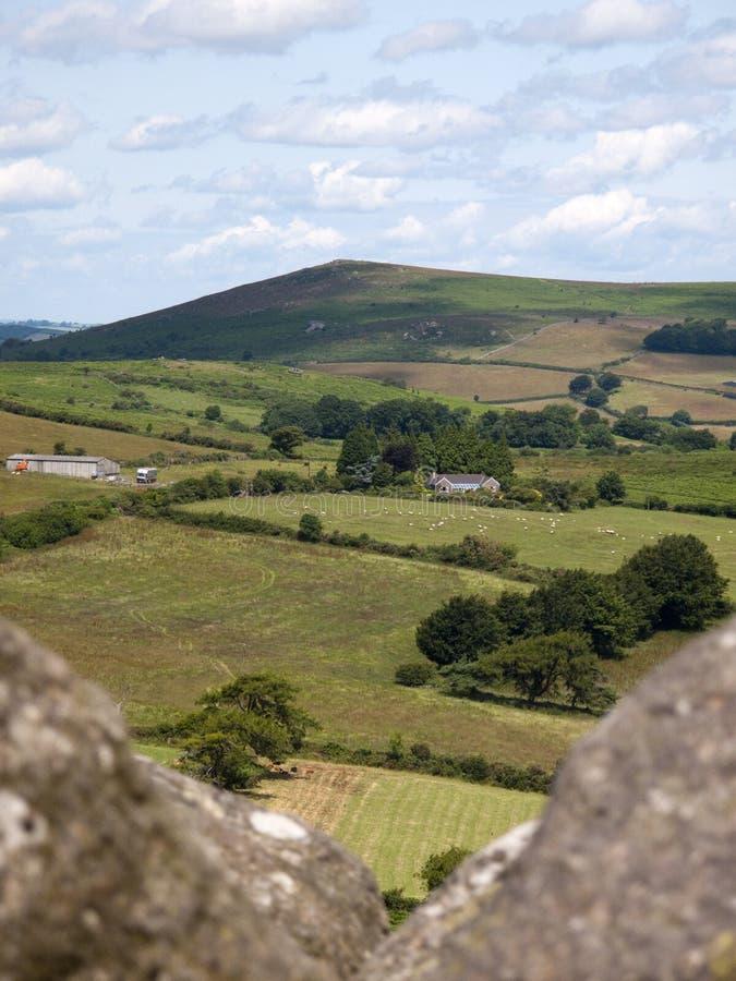 Plattelandsmening van Hondenpiek, Dartmoor, Devon stock afbeeldingen