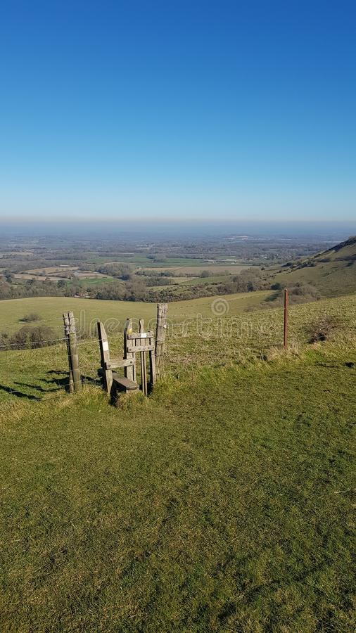 Plattelandspoort op Sussex Southdowns in Engeland royalty-vrije stock foto's