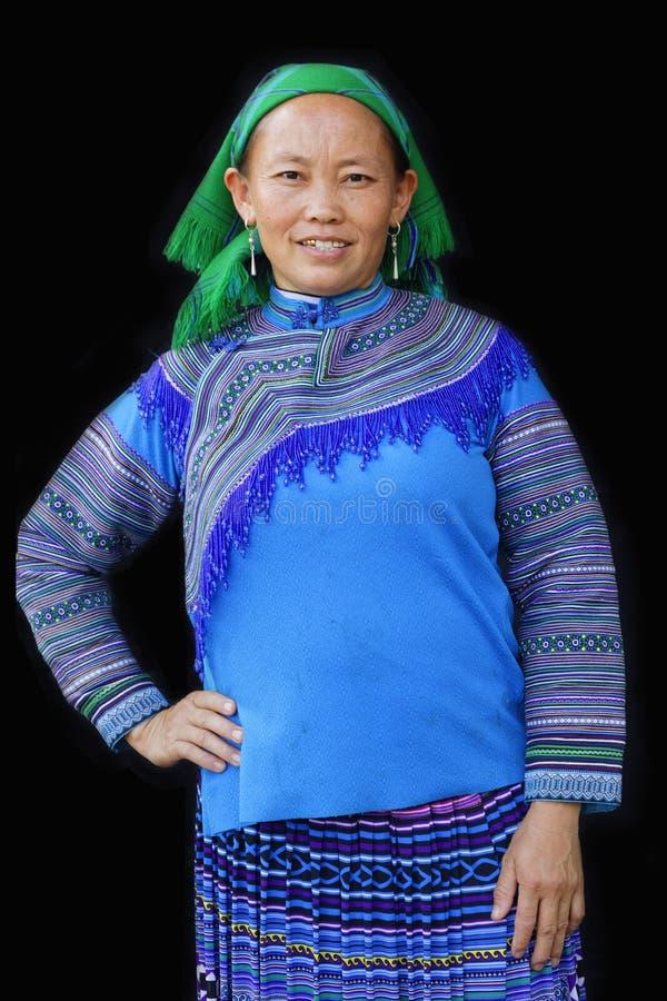 Plattelandsvrouw in blauw royalty-vrije stock foto