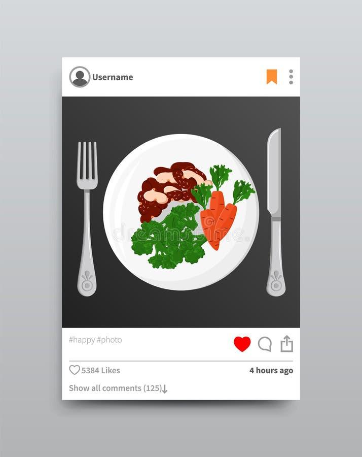 Platten-Gabel und Messer Instagram-Vektor-Illustration lizenzfreie abbildung