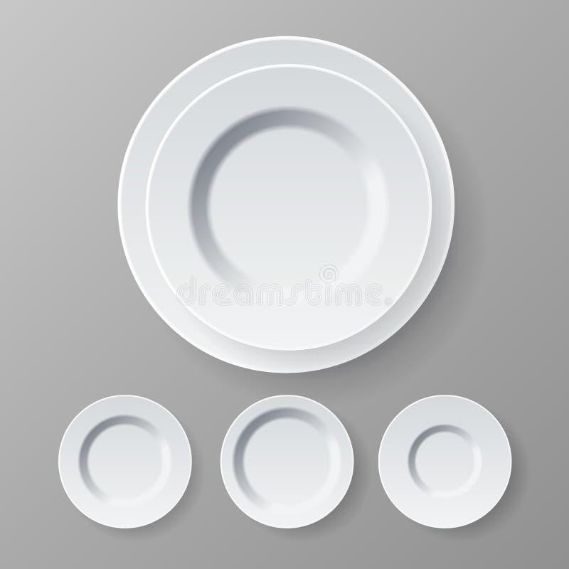 Platten-Vektor Beschneidungspfad eingeschlossen Abendessen-weiße saubere leere Platte Küchen-Restaurant-Teller realistische Illus lizenzfreie abbildung