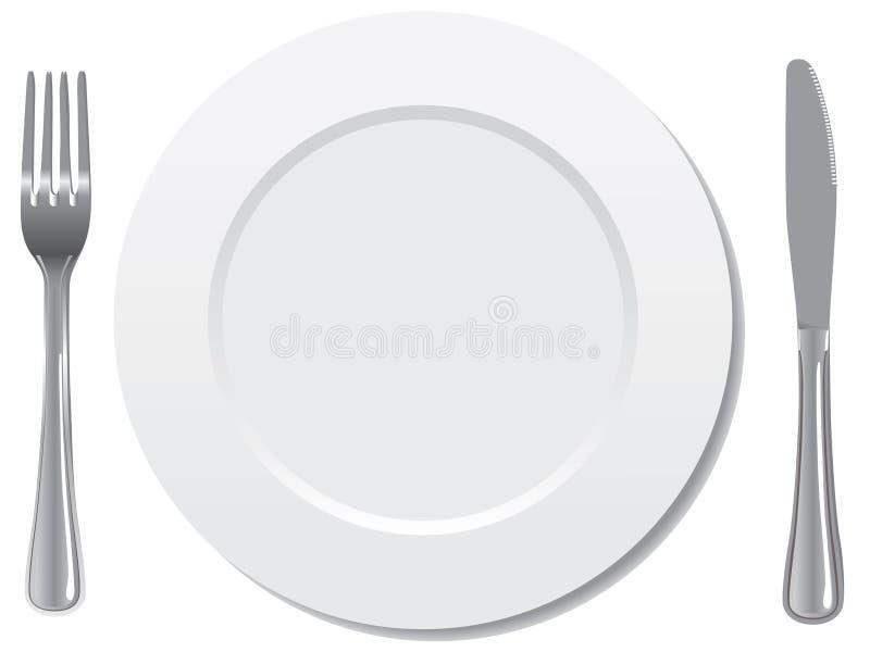 Plattenmesser- und -gabelvektor lizenzfreie abbildung