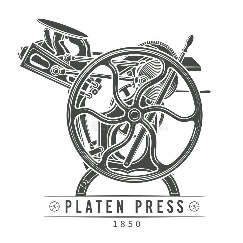 Plattenpresse-Vektorillustration Alter Briefbeschwerer stockfotos