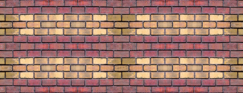 Plattenziegelsteinreihe der roten gelben Blockähnlichkeit, die niedrigen Entwurf der geometrischen Schmutzhintergrund-Art wiederh stock abbildung