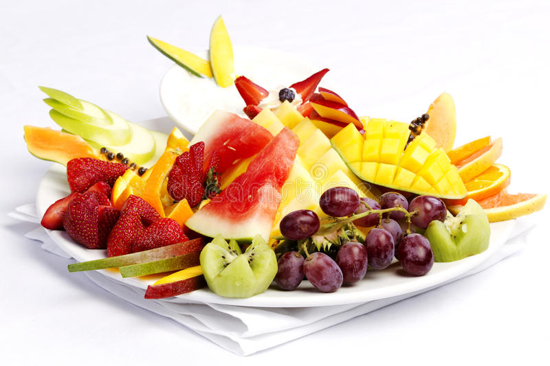 Platter of a assorted fresh fruit royalty free stock images