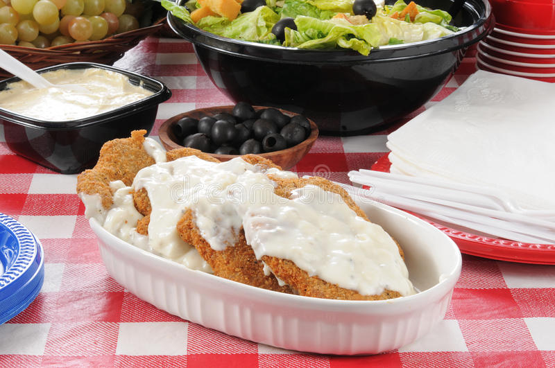 Platter of chicken fried steak royalty free stock photo