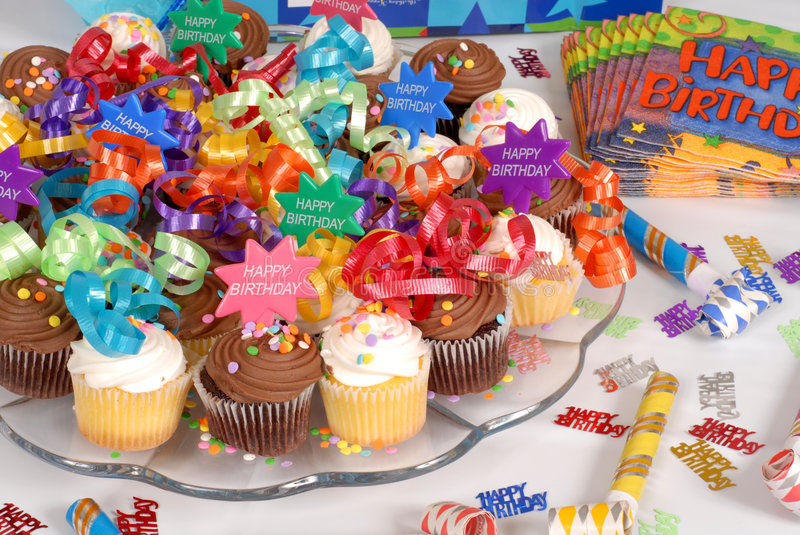 Platter of cupcakes decorated with Happy Birthday theme. Platter of delicious cupcakes decorated with Happy Birthday theme royalty free stock photography