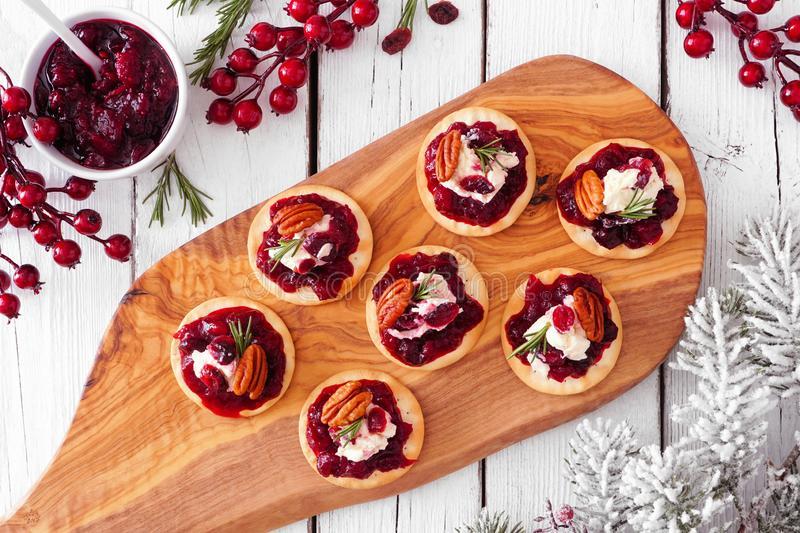 Platter of holiday appetizers with cranberries, goat cheese and pecans, top view serving scene on white wood royalty free stock photos