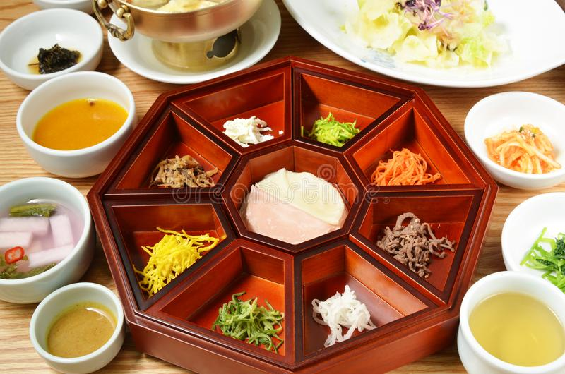 Platter of nine delicacies. Gujeolpan, Korean cuisine stock photos