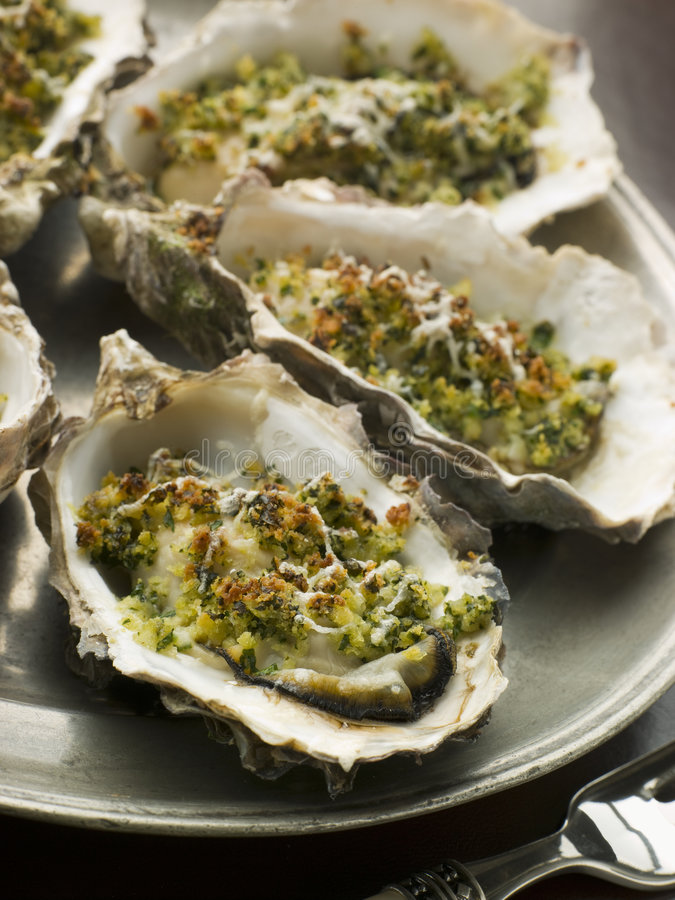 Free Platter Of Oysters Rockefeller Stock Image - 5575431