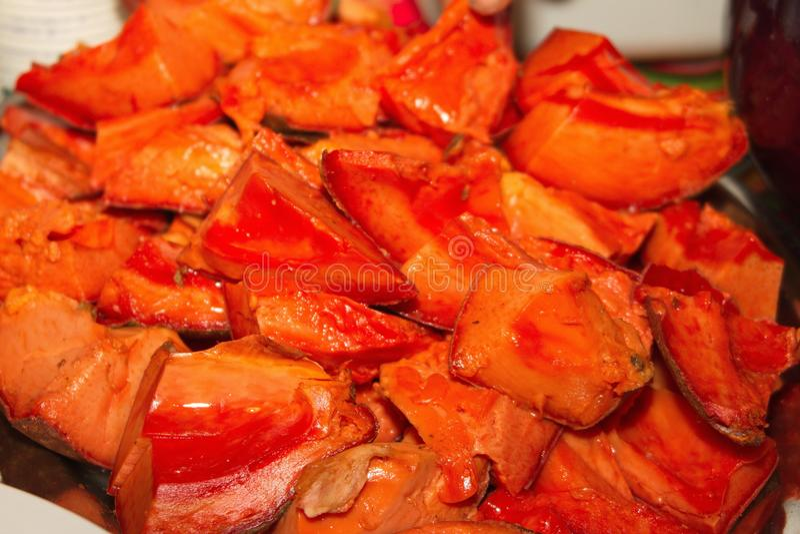 Juicy Mamey Sapote Fruit, Sliced stock photo