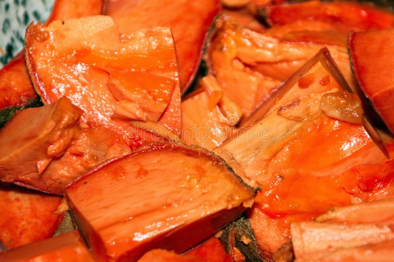 Sliced Juicy Mamey Sapote Fruit, Close Up royalty free stock photography