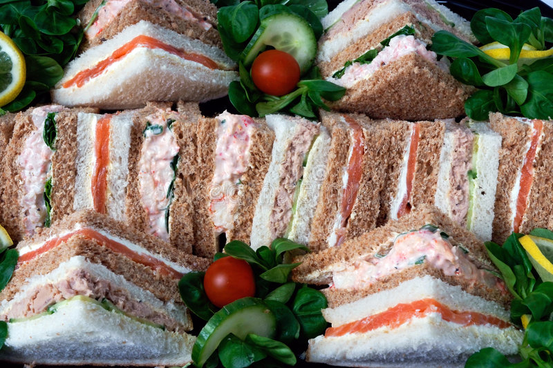 Platter of sandwiches stock photography