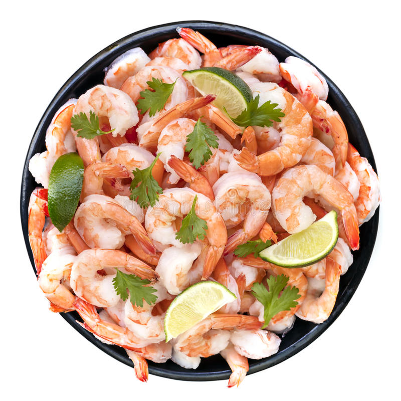 Platter of Shrimps Top View Isolated with Lime and Cilantro. Platter of shrimps isolated, top view, with lime and cilantro stock photo