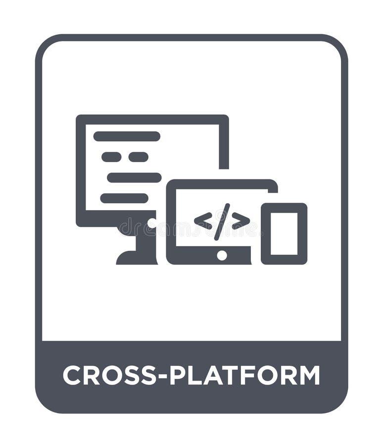 plattformübergreifende Ikone in der modischen Entwurfsart plattformübergreifende Ikone lokalisiert auf weißem Hintergrund plattfo stock abbildung