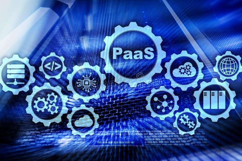 Plattform als Service PaaS - bewölken Sie Datenverarbeitungsservice-Konzept Serverraumhintergrund lizenzfreie stockfotos