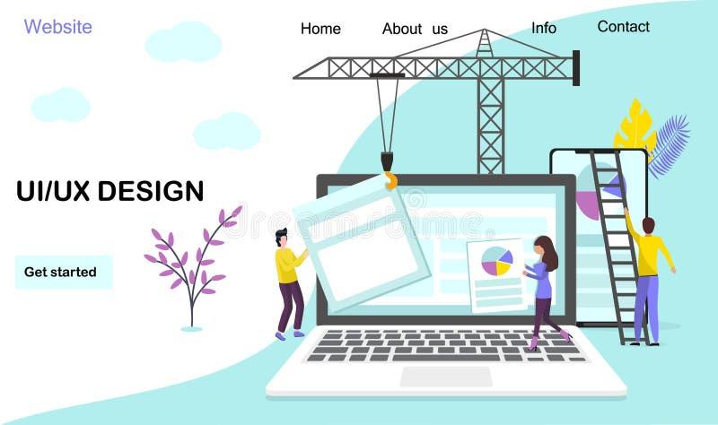 Plattform?bergreifende developmen, die Seitenwebsite-Vektorschablone landen lizenzfreie abbildung