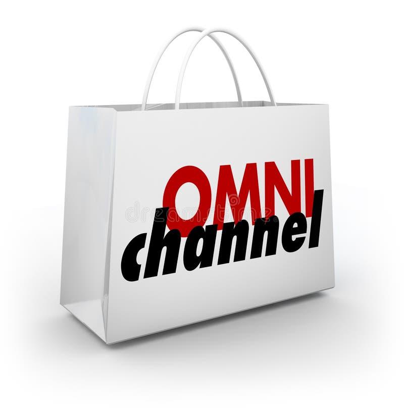 Plattform 3d Illu för lager för påse för Omni kanalshopping online-fysisk vektor illustrationer