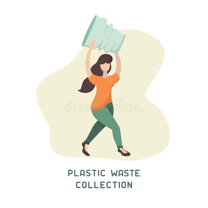 Plattform för insamling av plastavfall med flickor samlar in skräp vektor illustrationer