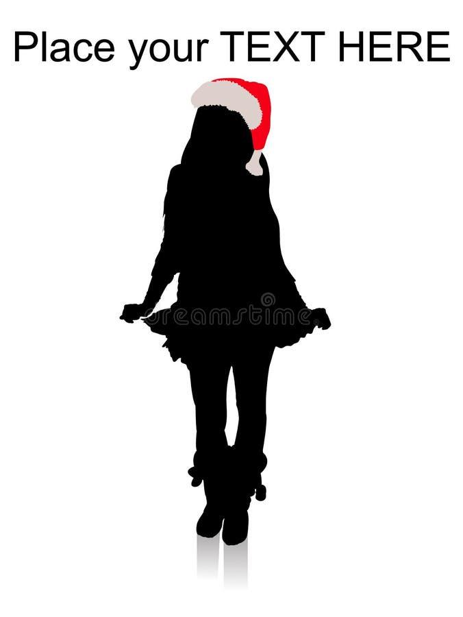 plattform kvinna för julhatt stock illustrationer