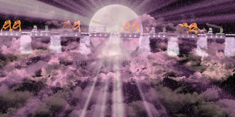 Plattform med rosa mörk himmel arkivfoton
