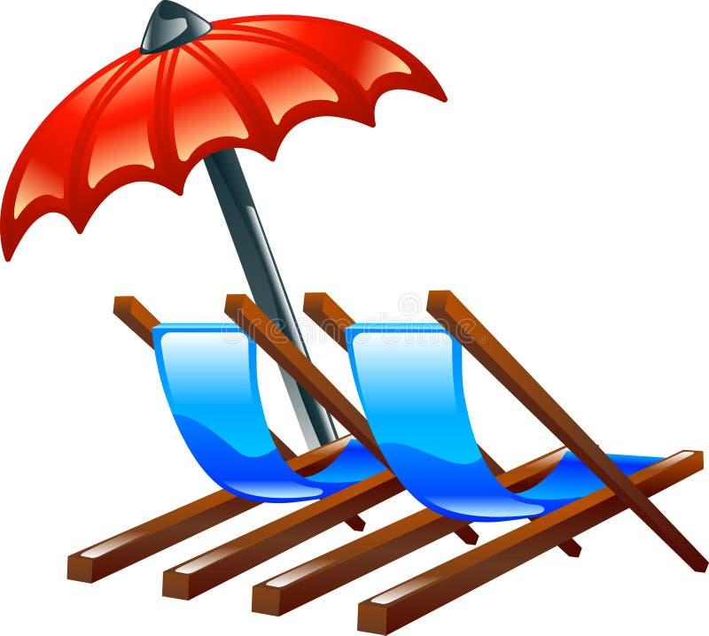 Plattform oder Strandstühle und -sonnenschirm stock abbildung
