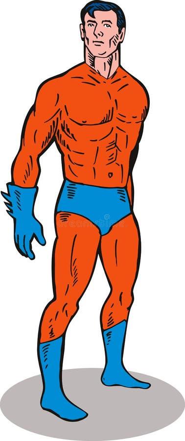 plattform superhero upp royaltyfri illustrationer
