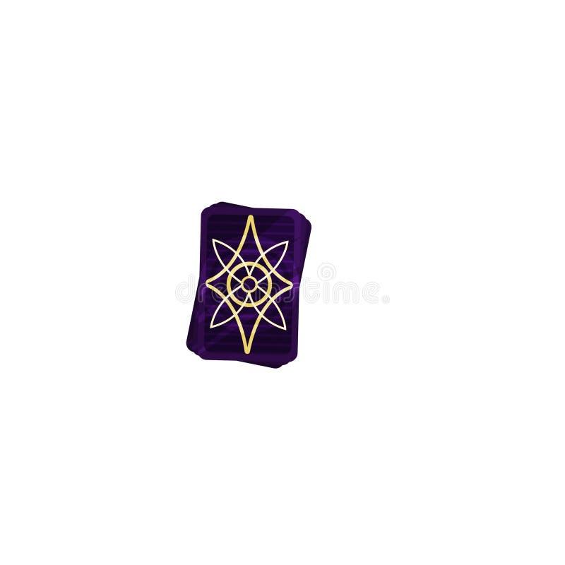 Plattform von purpurroten Tarockkarten mit mystischem magischem Symbol Weissagungs- und Wahrsagenthema Flache Vektorikone stock abbildung