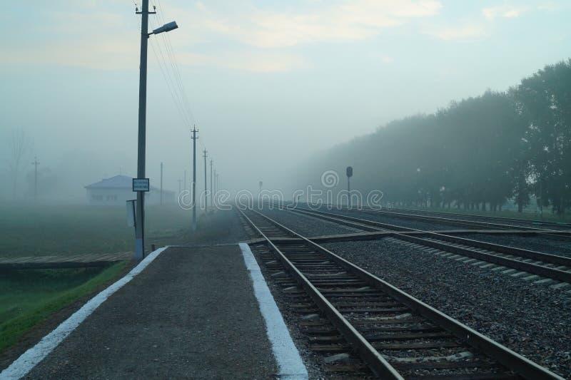 Plattformen av järnvägsstationen i dimman arkivbild